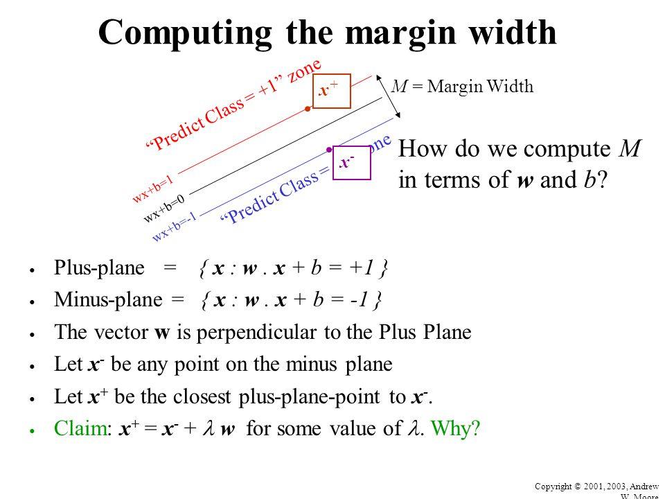 Copyright © 2001, 2003, Andrew W.Moore Computing the margin width Plus-plane = { x : w.