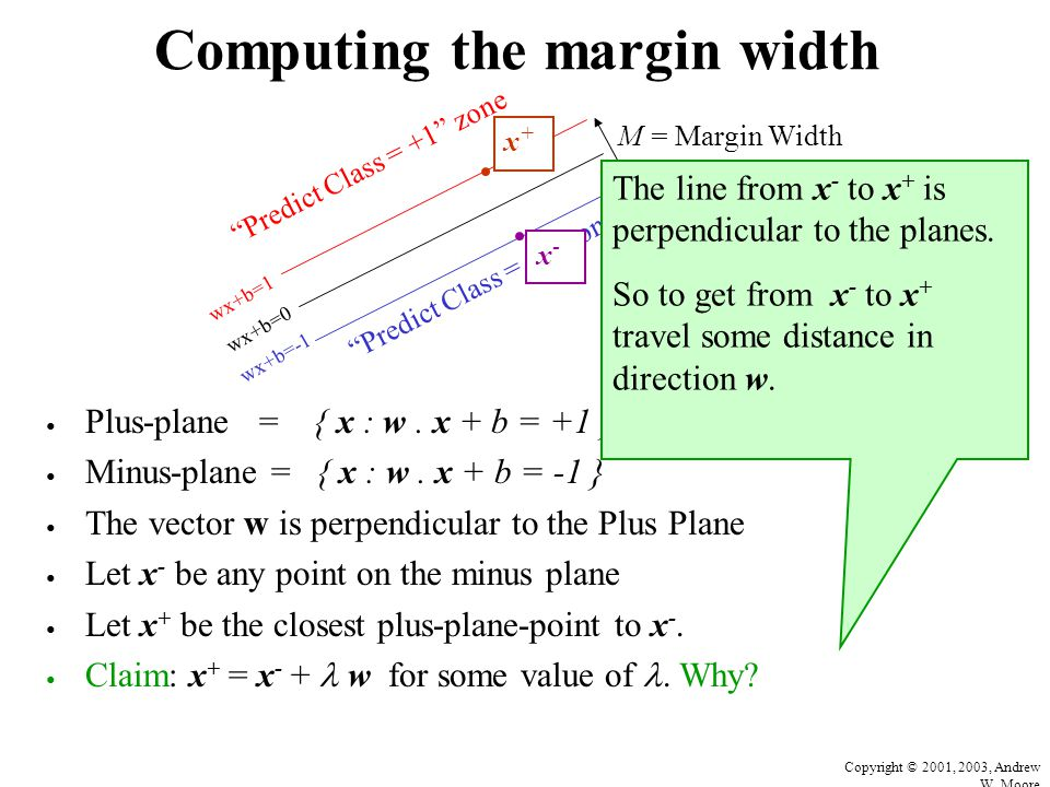 Copyright © 2001, 2003, Andrew W. Moore Computing the margin width Plus-plane = { x : w. x + b = +1 } Minus-plane = { x : w. x + b = -1 } The vector w