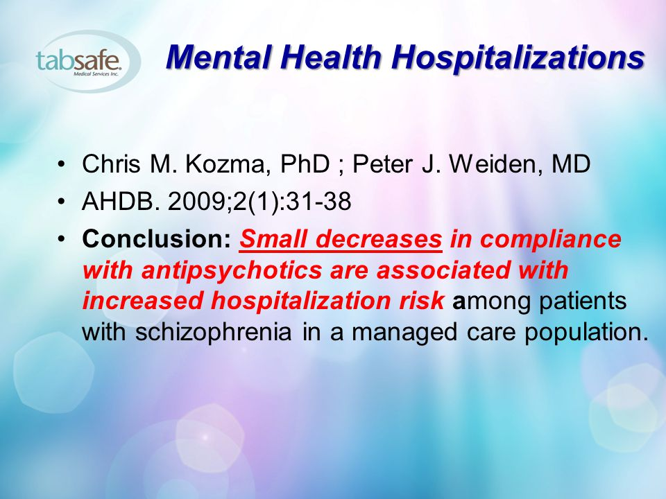 Mental Health Hospitalizations Chris M.Kozma, PhD ; Peter J.