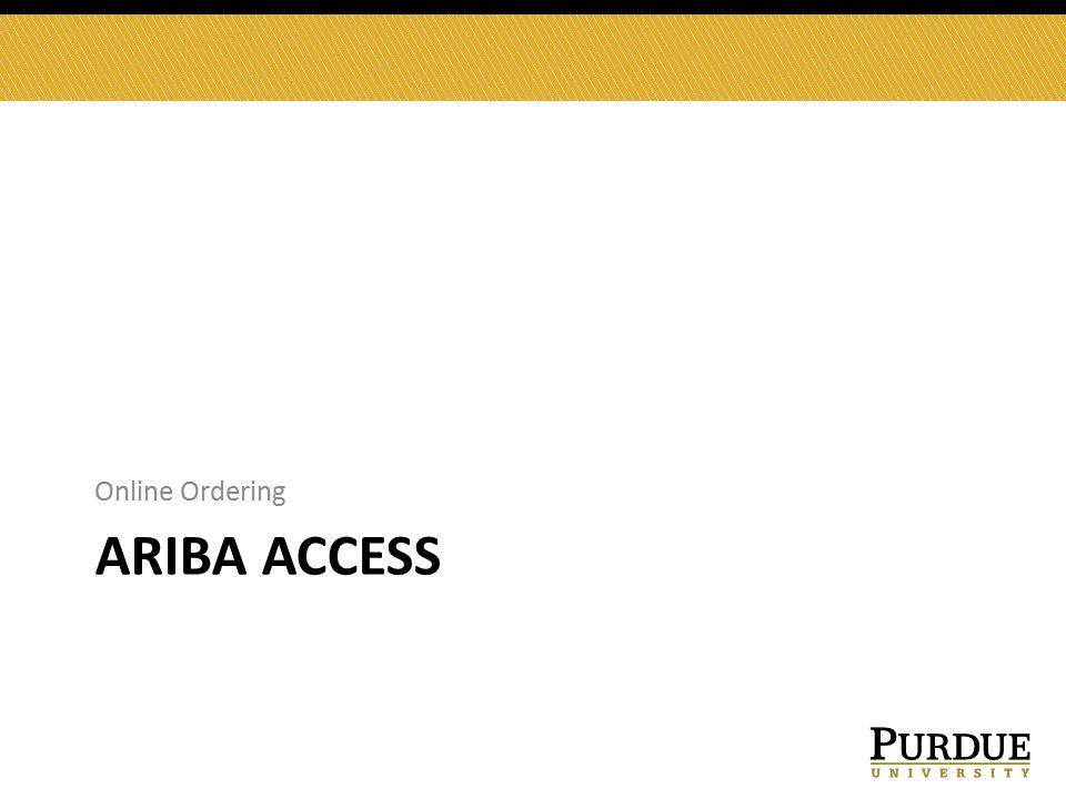 ARIBA ACCESS Online Ordering