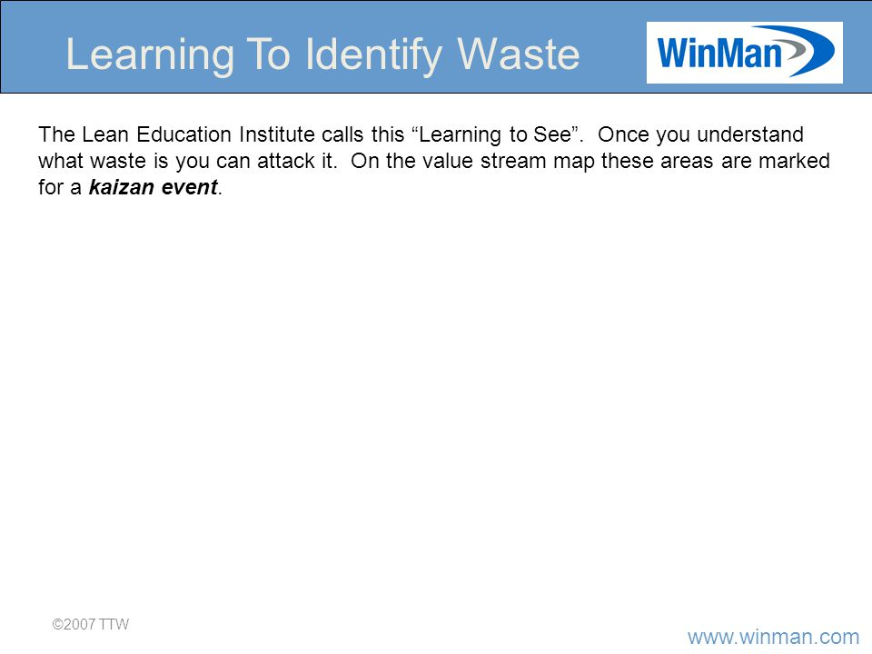 www.winman.com ©2007 TTW Learning To Identify Waste The Lean Education Institute calls this Learning to See .