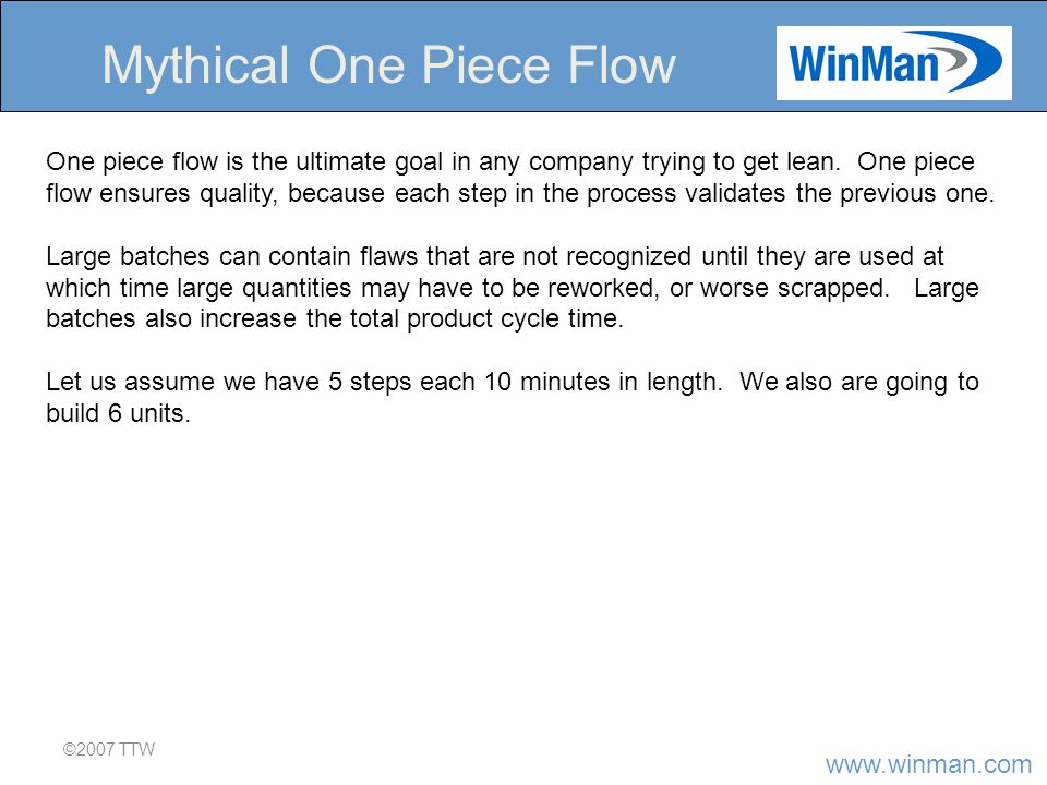 www.winman.com ©2007 TTW Mythical One Piece Flow One piece flow is the ultimate goal in any company trying to get lean.