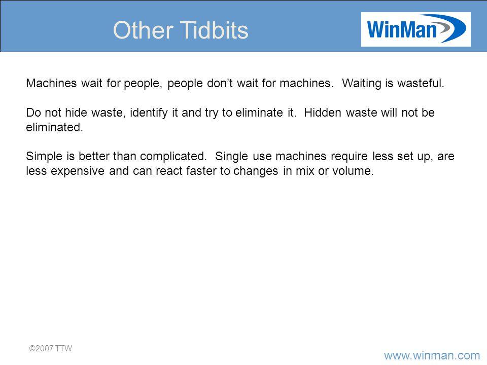 www.winman.com ©2007 TTW Other Tidbits Machines wait for people, people don't wait for machines.