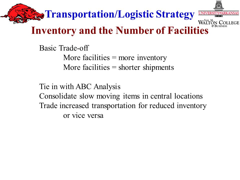 Transportation/Logistic Strategy Basic Trade-off More facilities = more inventory More facilities = shorter shipments Tie in with ABC Analysis Consolidate slow moving items in central locations Trade increased transportation for reduced inventory or vice versa Inventory and the Number of Facilities