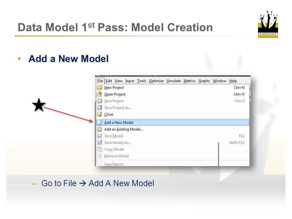 Data Model 1 st Pass: Model Creation Save the Model in Training Folder –C://Llamasoft/Training –Save Model As: Sim_Training_Basic –Save Project As: Guru_Training