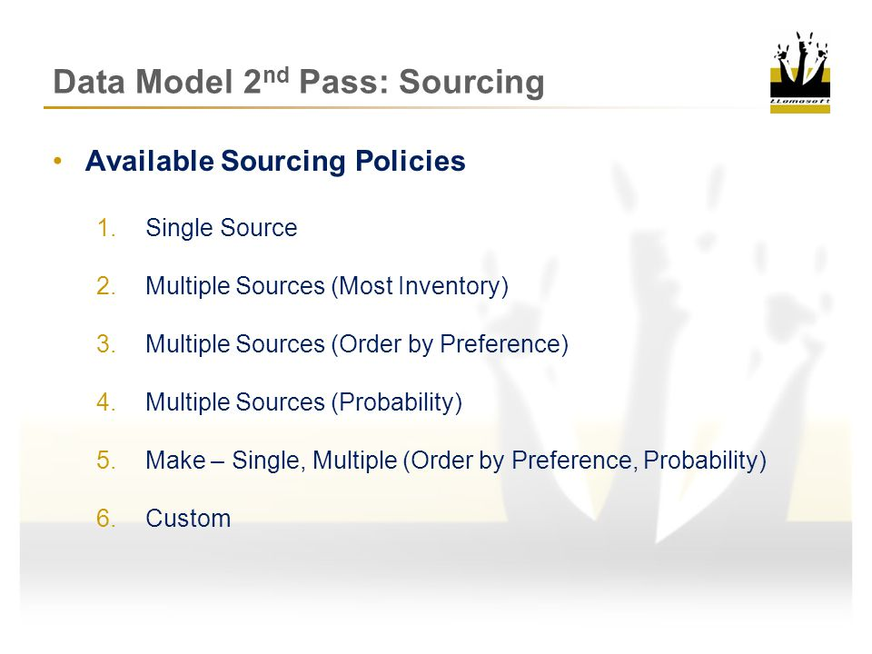 Data Model 2 nd Pass: Sourcing Demand SP CZCZDCDCMFGMFG Sourcing Walkthrough Review