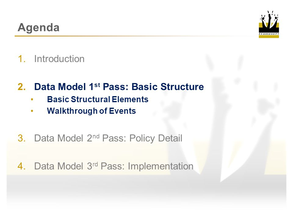 Data Model 1 st Pass: Basic Structure Products Required Elements