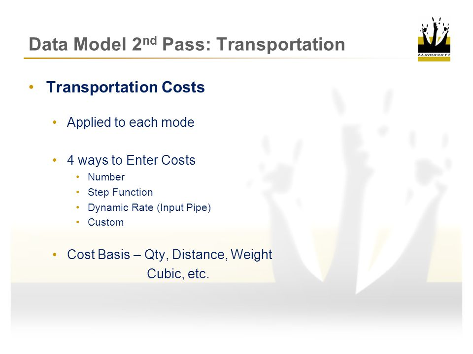 Data Model 2 nd Pass: Transportation Transportation Policy Walkthrough 1.Shipping Item Queued at Lane Order gets put into lane queue as a Shipping Item Mode 1 Mode 2 Shipping Item Lane Queue