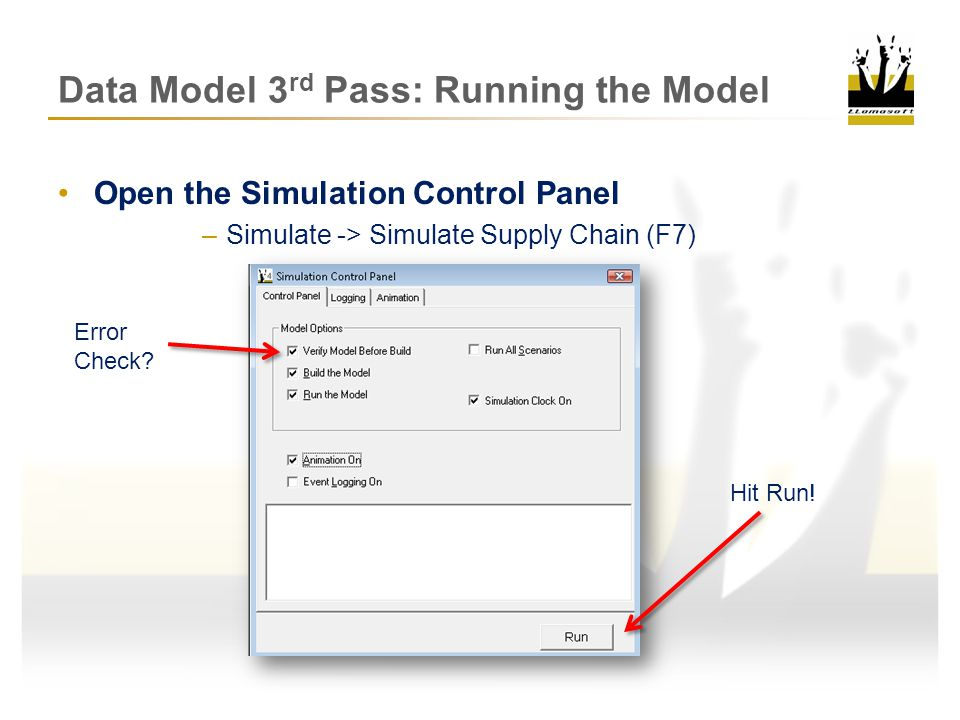 Data Model 3 rd Pass: Results Analysis Analyzing the Results –Simulation Output Tables Network Summary Site Summary Product Summary Inventory Details Service Details Shipment Transactions