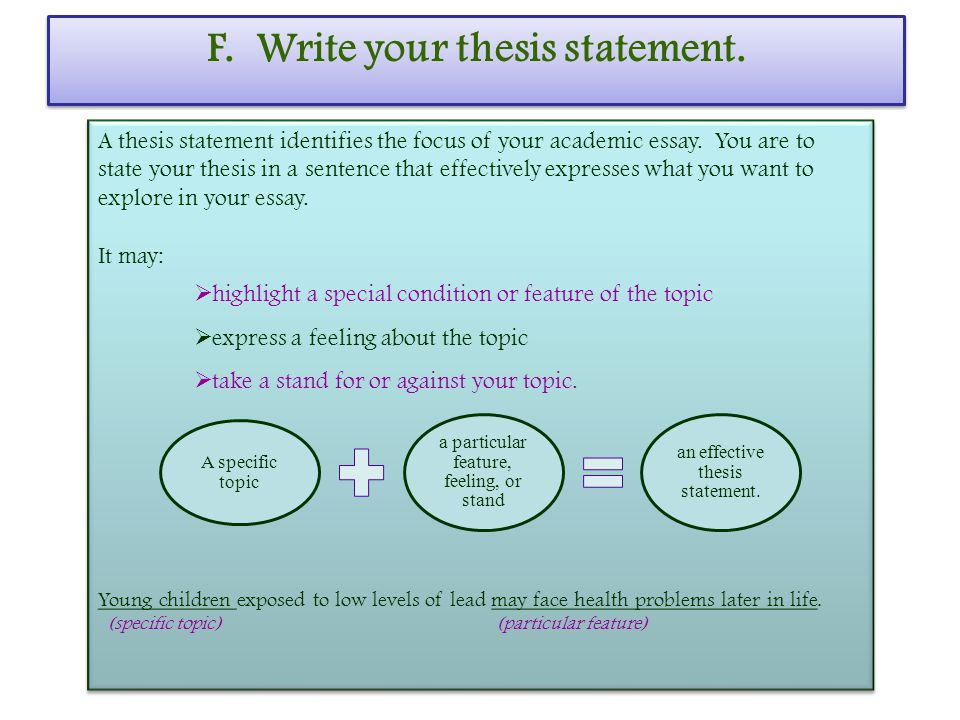 F. Write your thesis statement. A thesis statement identifies the focus of your academic essay.