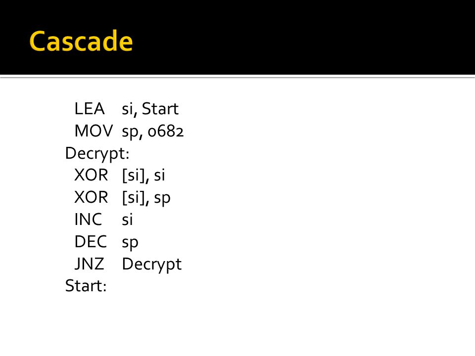 MOVEDI, 00403045h ADDEDI, EBP MOVECX, 0A6Bh MOVAL, [key] Decrypt: XOR[EDI], AL INCEDI LOOP Decrypt JMP Start DB key86 Start: