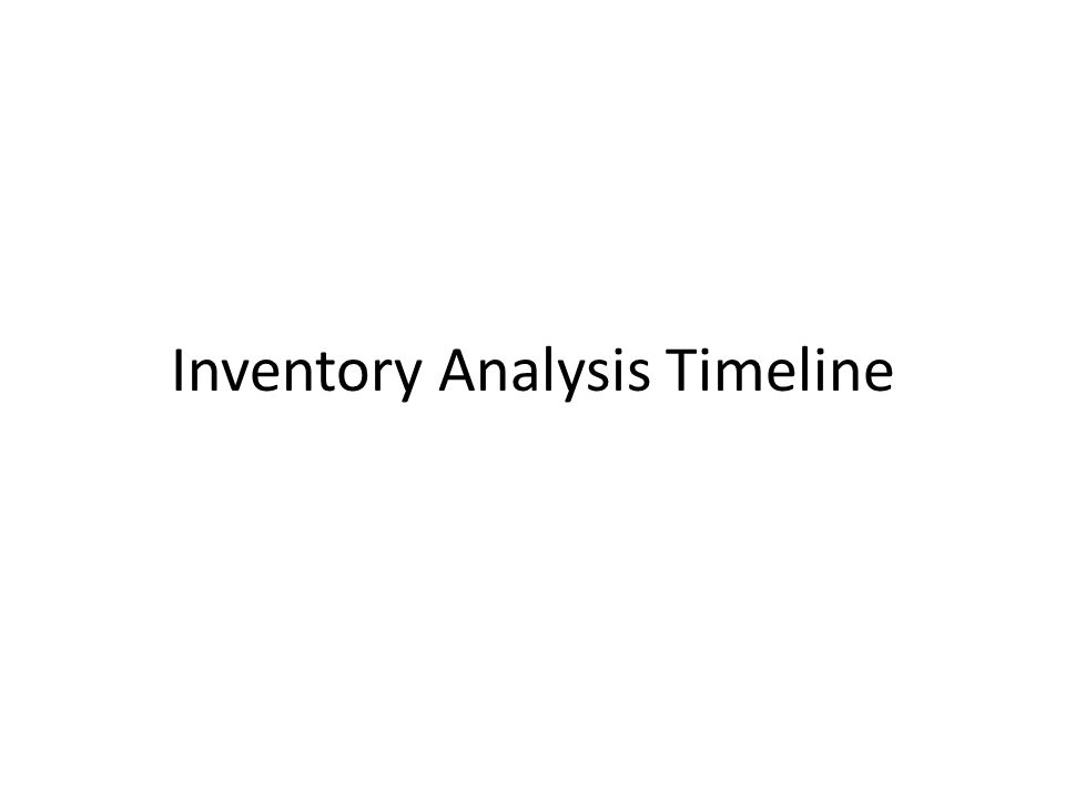 Inventory Analysis Timeline