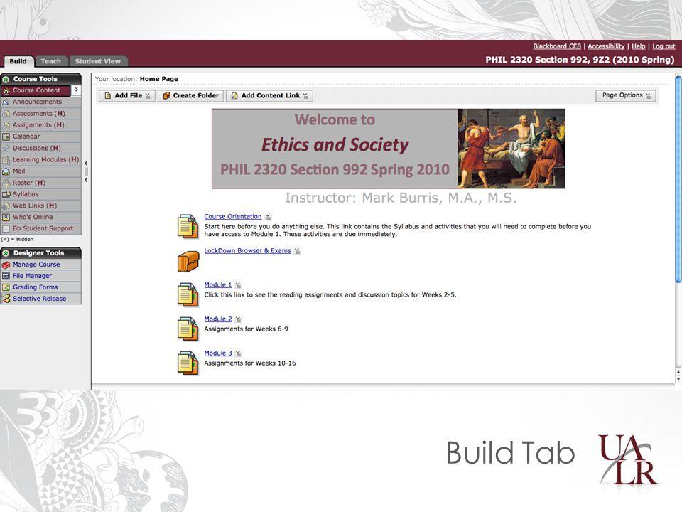 Build Tab