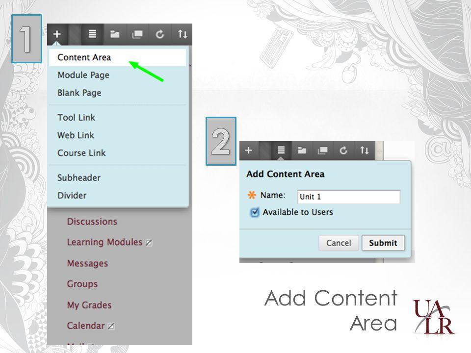 Add Content Area