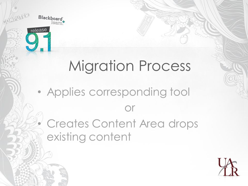 Migration Process Applies corresponding tool or Creates Content Area drops existing content