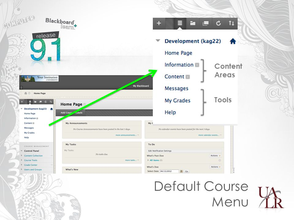 Default Course Menu Content Areas Tools