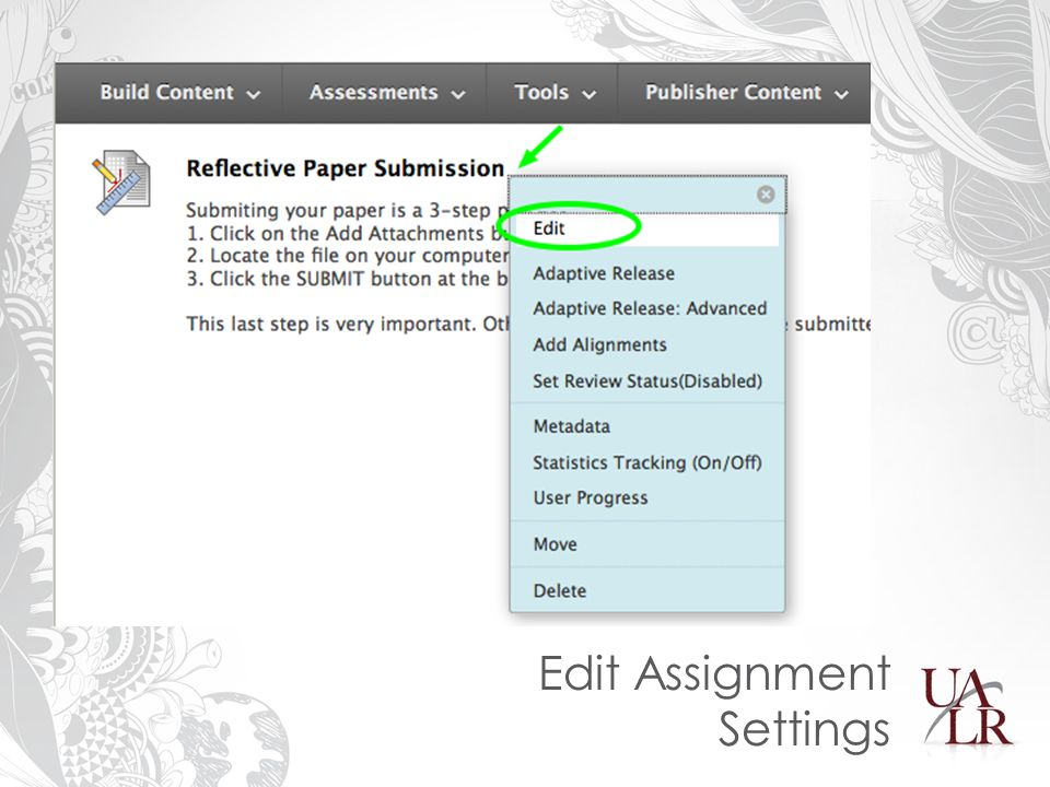 Edit Assignment Settings