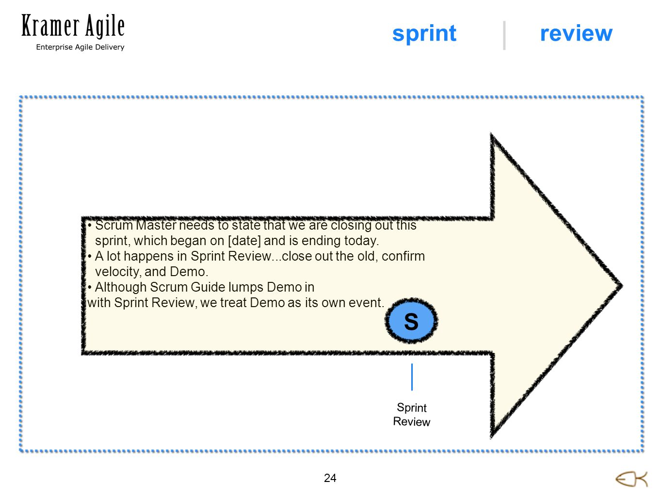 Scrum Master needs to state that we are closing out this sprint, which began on [date] and is ending today. A lot happens in Sprint Review...close out