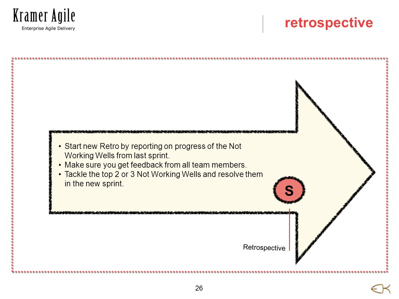 | 26 retrospective Start new Retro by reporting on progress of the Not Working Wells from last sprint. Make sure you get feedback from all team member