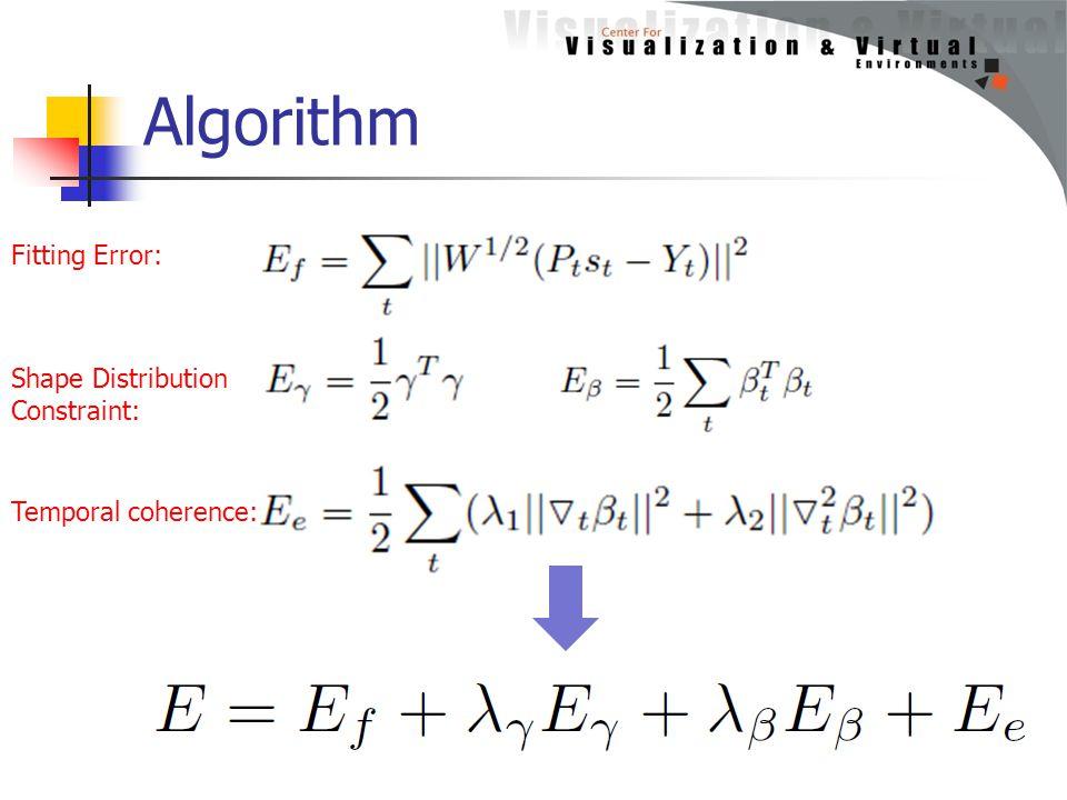 Algorithm Fitting Error: Shape Distribution Constraint: Temporal coherence:
