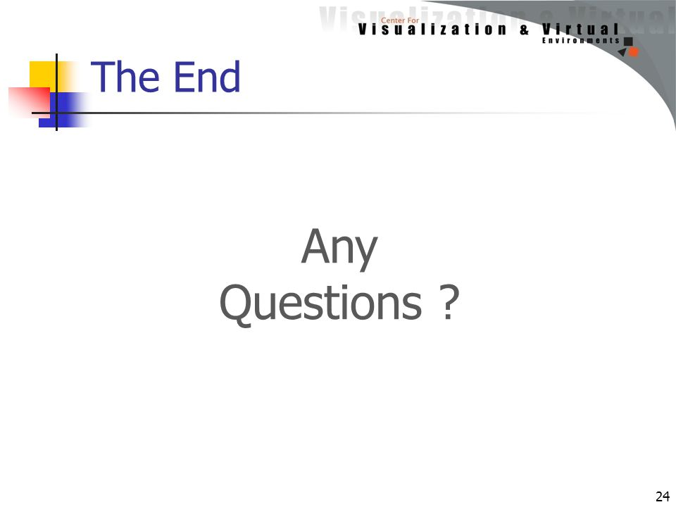 The End 24 Any Questions ?
