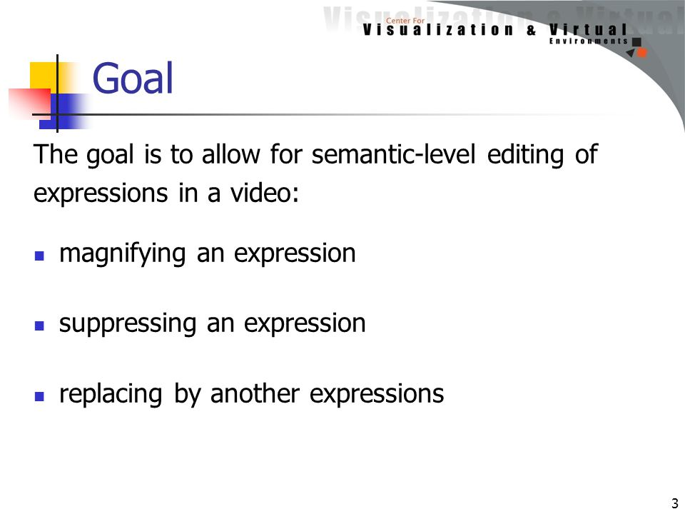 Goal The goal is to allow for semantic-level editing of expressions in a video: magnifying an expression suppressing an expression replacing by anothe