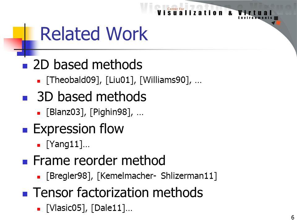 Related Work 2D based methods [Theobald09], [Liu01], [Williams90], … 3D based methods [Blanz03], [Pighin98], … Expression flow [Yang11]… Frame reorder method [Bregler98], [Kemelmacher- Shlizerman11] Tensor factorization methods [Vlasic05], [Dale11]… 6