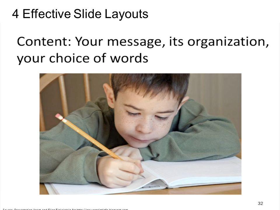 4 Effective Slide Layouts Source: Presentation Xpert and Ellen Finkelstein for http://powerpointinfo.blogspot.com