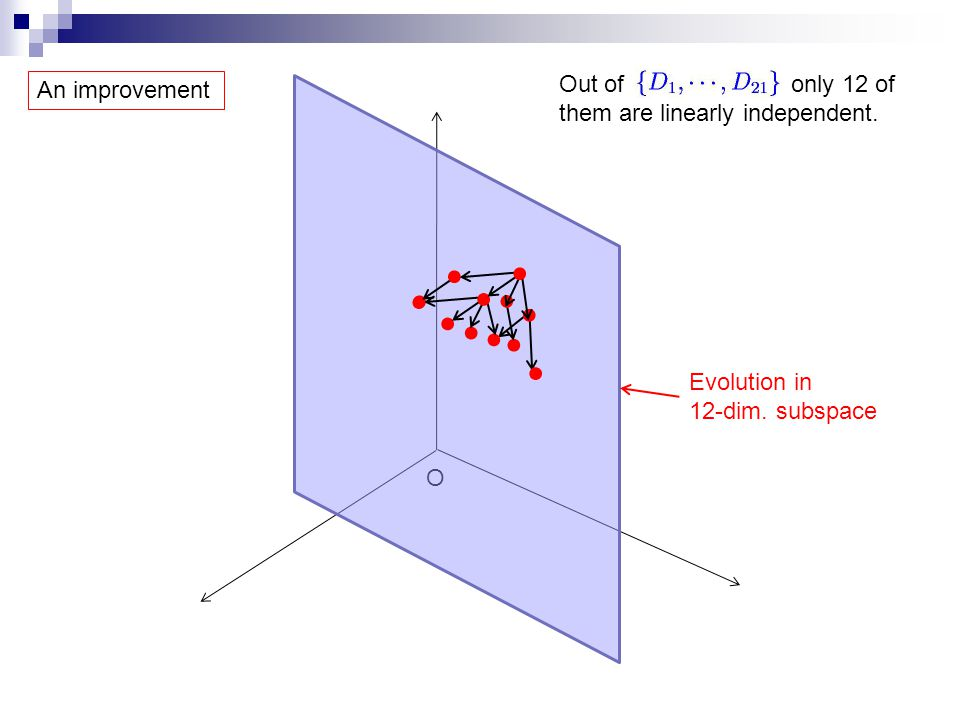 O Evolution in 12-dim. subspace Out of only 12 of them are linearly independent. An improvement