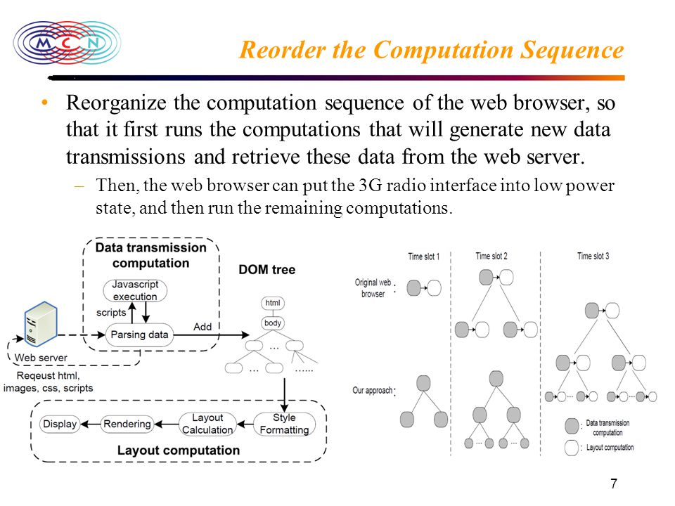 7 Reorder the Computation Sequence Reorganize the computation sequence of the web browser, so that it first runs the computations that will generate new data transmissions and retrieve these data from the web server.