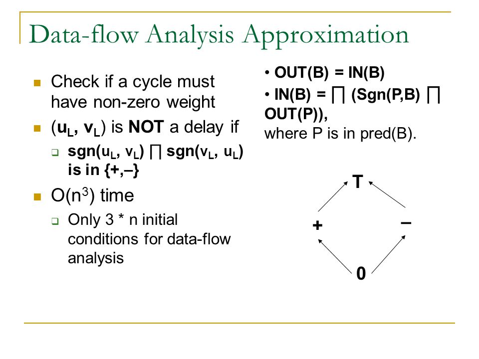 Data-flow Analysis Approximation Check if a cycle must have non-zero weight (u L, v L ) is NOT a delay if  sgn( u L, v L ) ∏ sgn( v L, u L ) is in {+,–} O(n 3 ) time  Only 3 * n initial conditions for data-flow analysis T + – 0 OUT(B) = IN(B) IN(B) = ∏ (Sgn(P,B) ∏ OUT(P)), where P is in pred(B).