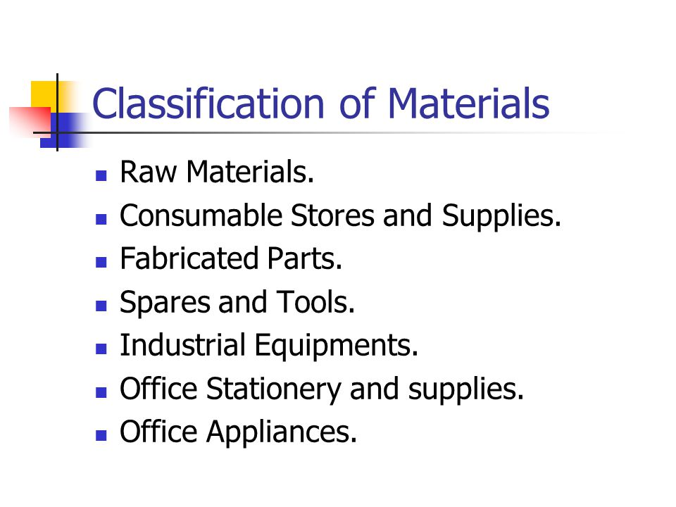 Classification of Materials Raw Materials. Consumable Stores and Supplies.