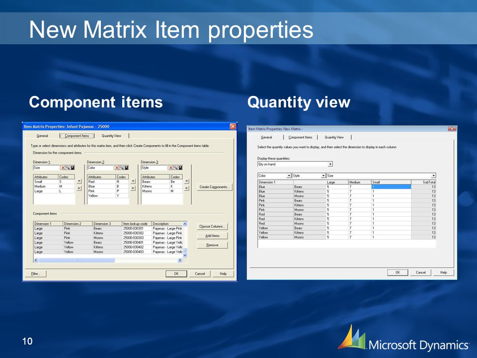 New Matrix Item properties 10 Component itemsQuantity view