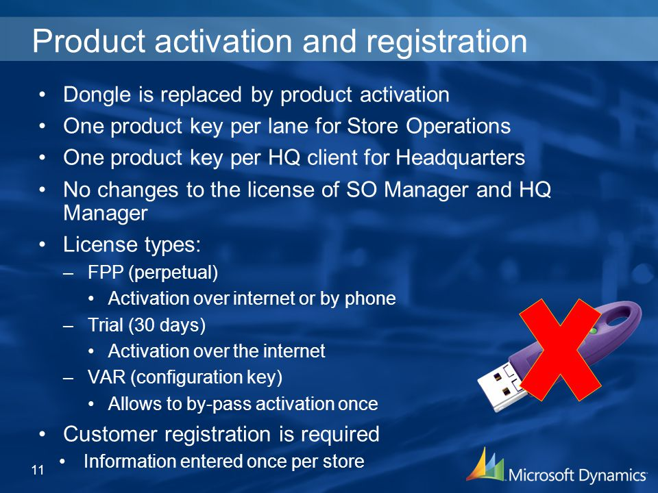 Product activation and registration Dongle is replaced by product activation One product key per lane for Store Operations One product key per HQ client for Headquarters No changes to the license of SO Manager and HQ Manager License types: –FPP (perpetual) Activation over internet or by phone –Trial (30 days) Activation over the internet –VAR (configuration key) Allows to by-pass activation once Customer registration is required Information entered once per store 11
