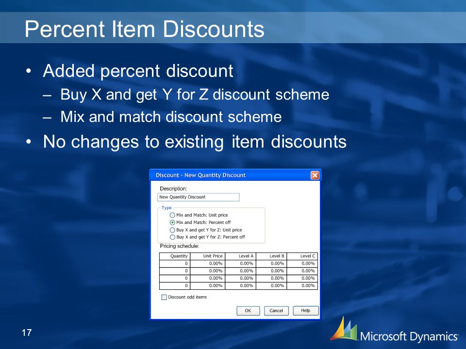17 Percent Item Discounts Added percent discount –Buy X and get Y for Z discount scheme –Mix and match discount scheme No changes to existing item discounts