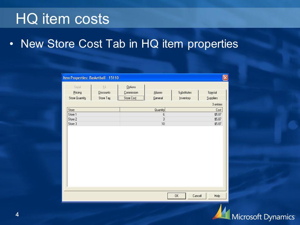 HQ item costs New Store Cost Tab in HQ item properties 4