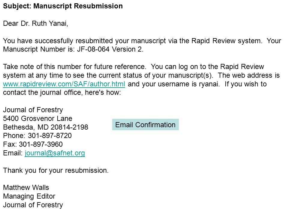 Subject: Manuscript Resubmission Dear Dr.