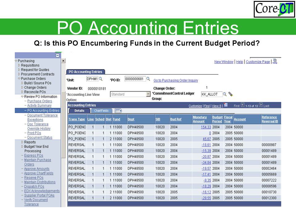 PO Accounting Entries Q: Is this PO Encumbering Funds in the Current Budget Period