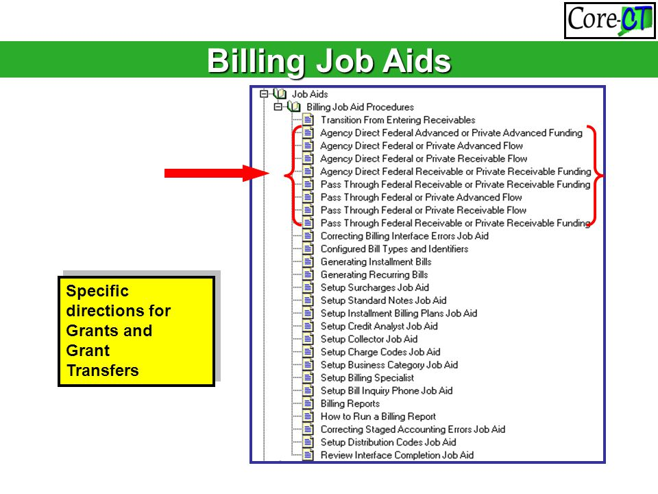 Specific directions for Grants and Grant Transfers Specific directions for Grants and Grant Transfers Billing Job Aids