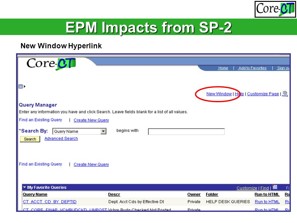 EPM Impacts from SP-2 New Window Hyperlink