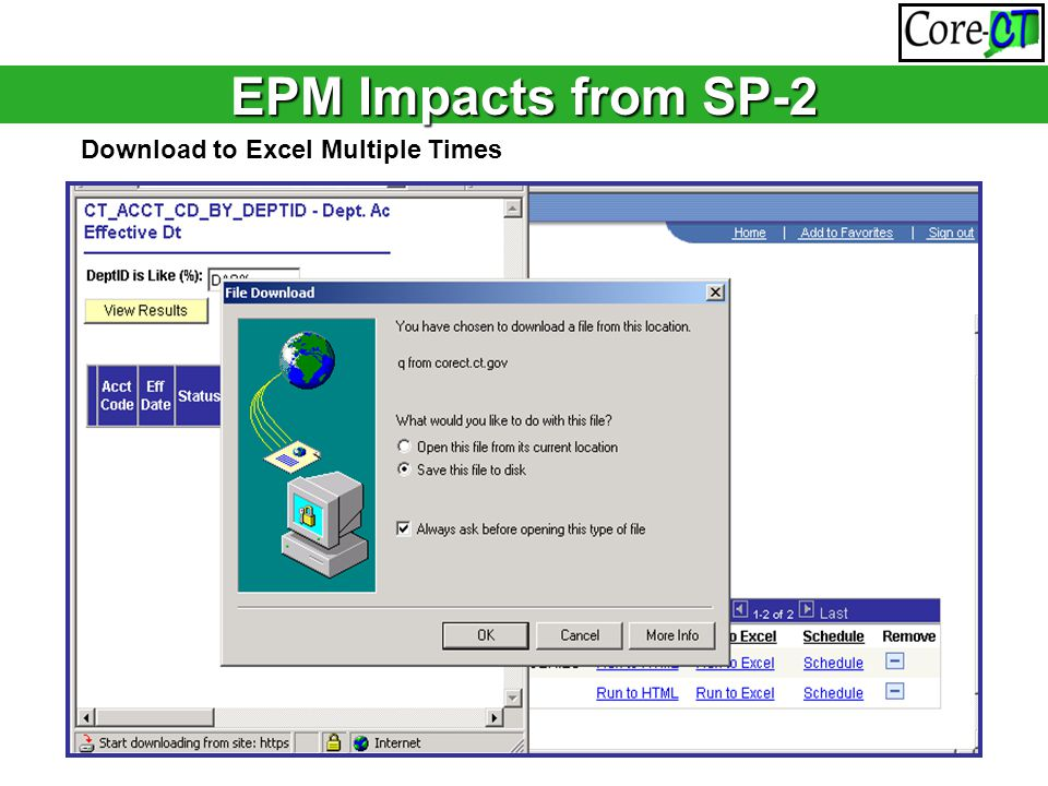 EPM Impacts from SP-2 Download to Excel Multiple Times