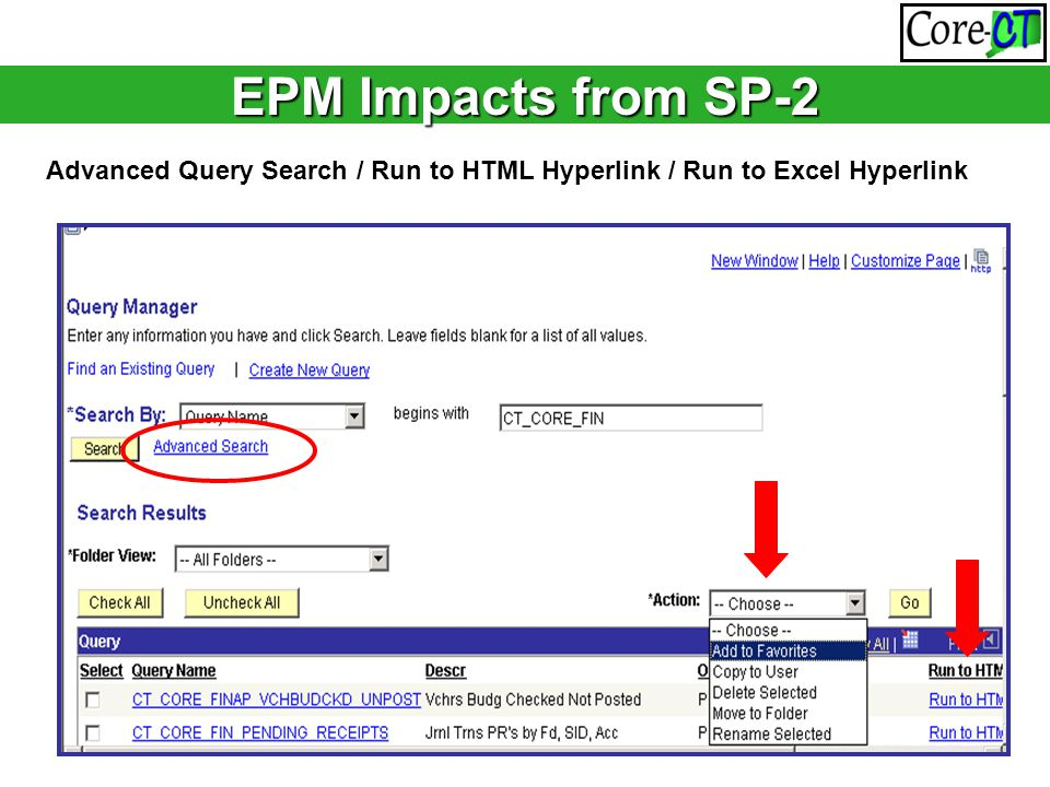 EPM Impacts from SP-2 Advanced Query Search / Run to HTML Hyperlink / Run to Excel Hyperlink