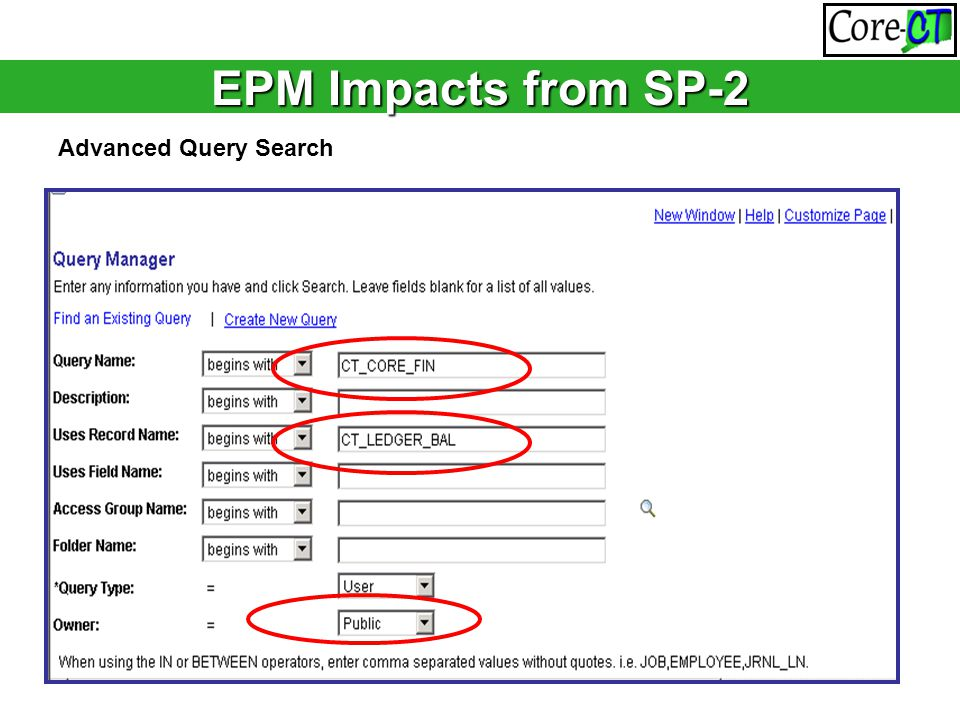 EPM Impacts from SP-2 Advanced Query Search