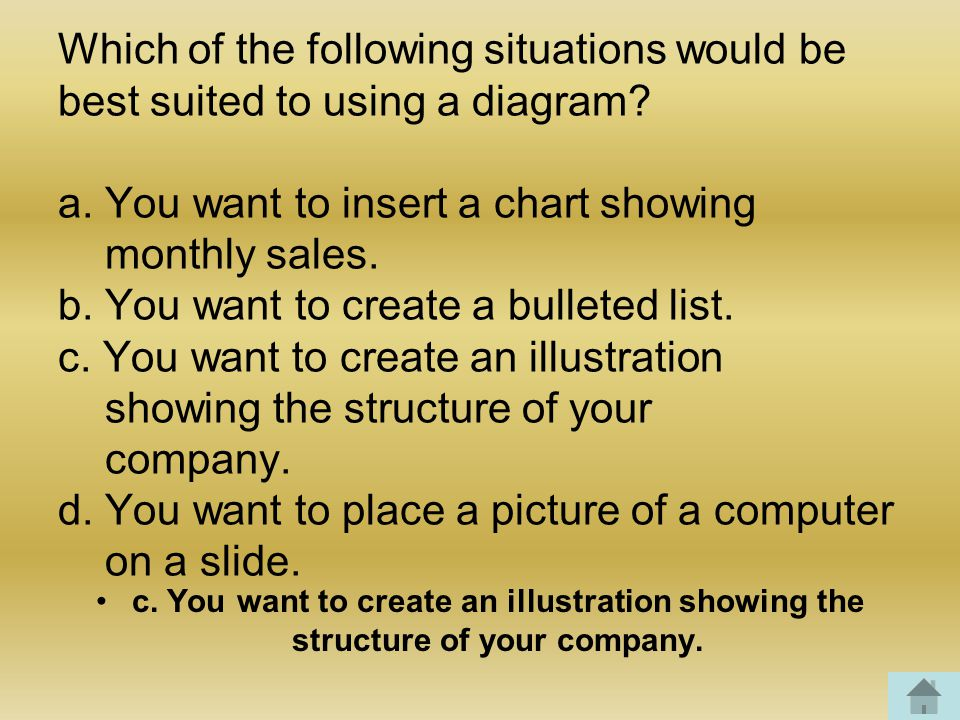 Which of the following situations would be best suited to using a diagram.