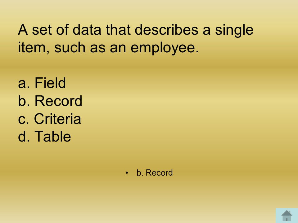 A set of data that describes a single item, such as an employee.
