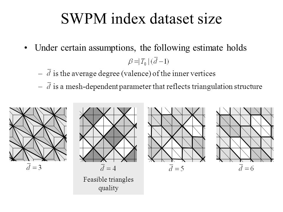 Under certain assumptions, the following estimate holds – is the average degree (valence) of the inner vertices – is a mesh-dependent parameter that reflects triangulation structure Feasible triangles quality SWPM index dataset size