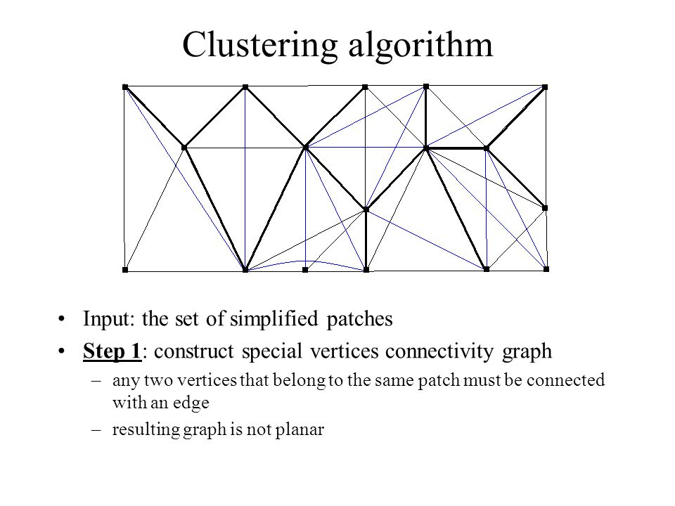 Clustering algorithm Input: the set of simplified patches Step 1: construct special vertices connectivity graph –any two vertices that belong to the s