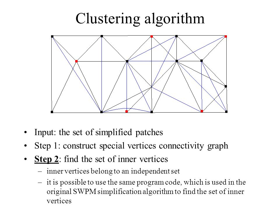 Clustering algorithm Input: the set of simplified patches Step 1: construct special vertices connectivity graph Step 2: find the set of inner vertices –inner vertices belong to an independent set –it is possible to use the same program code, which is used in the original SWPM simplification algorithm to find the set of inner vertices