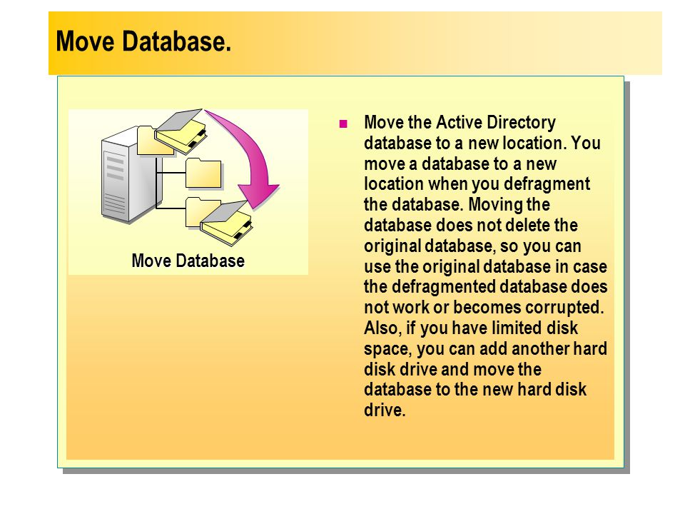 Move Database Move the Active Directory database to a new location. You move a database to a new location when you defragment the database. Moving the