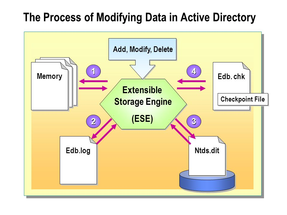 The Process of Modifying Data in Active Directory Extensible Storage Engine (ESE) Extensible Storage Engine (ESE) Ntds.dit Edb.log Memory Edb. chk Add